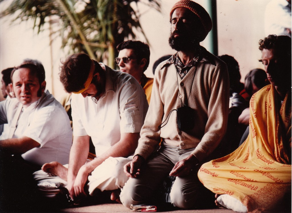 Ron meditating at Sai Baba Ashram, Bangalore 1982